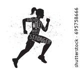 each mile makes you stronger.... | Shutterstock .eps vector #695758666