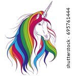 unicorn with rainbow mane on... | Shutterstock .eps vector #695761444