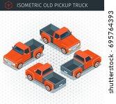 isometric red pickup truck car. ... | Shutterstock .eps vector #695764393
