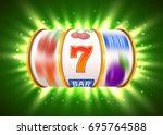 golden slot machine with flying ... | Shutterstock .eps vector #695764588