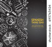 spanish tapas  top view. a set... | Shutterstock .eps vector #695765434