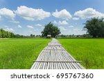 the bamboo bridge across rice... | Shutterstock . vector #695767360