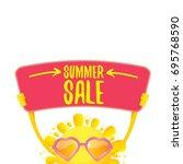 summer sale vector poster or... | Shutterstock .eps vector #695768590