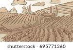 vintage vineyard landcape... | Shutterstock .eps vector #695771260