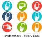 hands holding mobile phone... | Shutterstock .eps vector #695771338