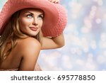closeup beautiful girl  happy... | Shutterstock . vector #695778850