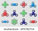 set of colored hand spinner... | Shutterstock .eps vector #695782714