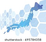 japan map network vector | Shutterstock .eps vector #695784358