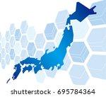 japan map network vector | Shutterstock .eps vector #695784364