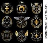 heraldic emblems with wings...   Shutterstock .eps vector #695788534