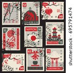 set of postage stamps on the... | Shutterstock .eps vector #695791474