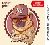 pug in tattoos. prints on t... | Shutterstock .eps vector #695794144