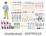 little boy character...   Shutterstock .eps vector #695795119