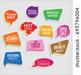 promo sale stickers and tags... | Shutterstock .eps vector #695796004