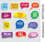 promo sale stickers and tags... | Shutterstock .eps vector #695796010