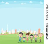 hand holding family three... | Shutterstock .eps vector #695796460