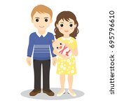 young happy family. mom  dad... | Shutterstock .eps vector #695796610