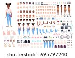 little girl character... | Shutterstock .eps vector #695797240