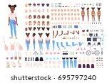 little girl character...   Shutterstock .eps vector #695797240
