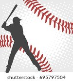 baseball player silhouette on... | Shutterstock .eps vector #695797504