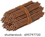wooden sticks in big bundle... | Shutterstock .eps vector #695797720