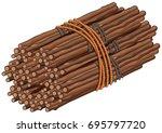 wooden sticks in big bundle... | Shutterstock .eps vector #695797720
