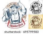 bavarian man holding glass of... | Shutterstock .eps vector #695799583
