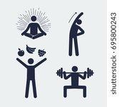 Healthy people symbols set, vector illustration icons