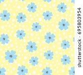 Flowers And Polka Dot. Drawn B...