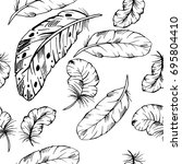 seamless pattern of hand drawn... | Shutterstock .eps vector #695804410