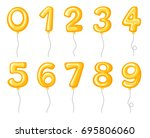 yellow balloons shaped of... | Shutterstock .eps vector #695806060