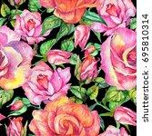 wildflower rose flower pattern... | Shutterstock . vector #695810314