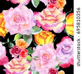 wildflower rose flower pattern... | Shutterstock . vector #695810356