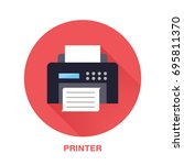 black printer with paper page... | Shutterstock .eps vector #695811370