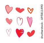 hand drawn hearts | Shutterstock .eps vector #695811490