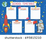 template school timetable for... | Shutterstock .eps vector #695815210