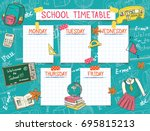 template school timetable for... | Shutterstock .eps vector #695815213