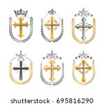 crosses of christianity emblems ... | Shutterstock .eps vector #695816290