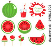 set of watermelon vector... | Shutterstock .eps vector #695818708