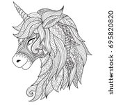 drawing unicorn zentangle style ... | Shutterstock .eps vector #695820820