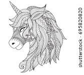 drawing unicorn zentangle style ... | Shutterstock .eps vector #695820820
