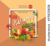 autumn advertising banner of... | Shutterstock .eps vector #695820838