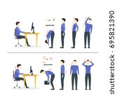 office syndrome correct or...   Shutterstock . vector #695821390