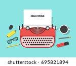 cartoon vintage typewriter and... | Shutterstock . vector #695821894