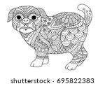 line art design of cute pug dog ...   Shutterstock .eps vector #695822383