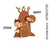 opposite close and open vector... | Shutterstock .eps vector #695823730