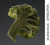 half of healthy ripe broccoli... | Shutterstock . vector #695823934