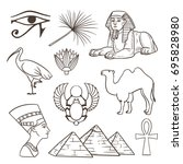 egyptian culture illustrations... | Shutterstock .eps vector #695828980