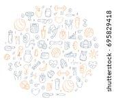 set of vector icons in doodle... | Shutterstock .eps vector #695829418
