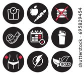 diet icons set. white on a... | Shutterstock .eps vector #695829454